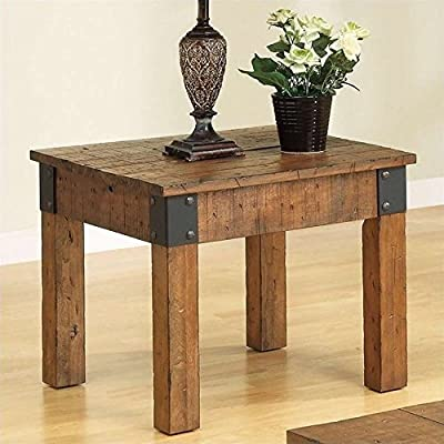 Coaster Home Furnishings Square End Table Rustic Brown - Set includes: One (1) end table Materials: Poplar wood Finish Color: Rustic Brown - living-room-furniture, living-room, end-tables - 515GifudX4L. SS400  -