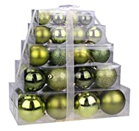 Christmas Green Assorted Shatterproof Orbs and Ornaments Cake Box - 40 Pack