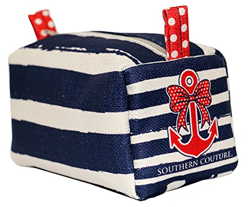 Southern Couture Nautical Polka Dot Bow Anchor Navy White Stripes Cosmetic Pouch (Christmas Southern Reviews Show)