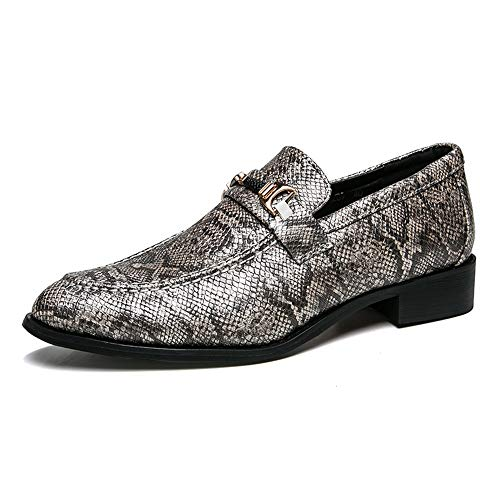 (Gobling Men's Classic Loafers Rustproof Metal Buckle Slip-on Penny Loafers Snakeskin Texture Formal Dress Shoes (Color : Gray, Size : 9.5 D(M) US) )