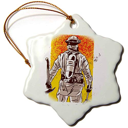 3dRose Sven Herkenrath Job - Fireman Firefighter with Yellow and Red Background - 3 inch Snowflake Porcelain Ornament (ORN_316103_1) ()