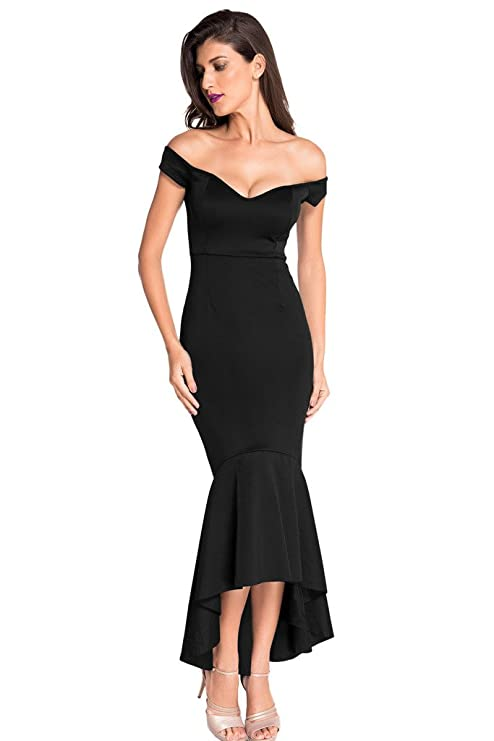Amazon Astylish Womens Evening Dress Off Shoulder Flouncing