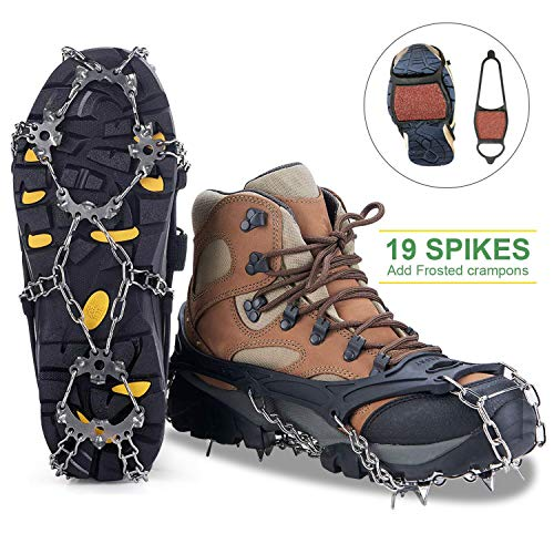 MIABOO Ice Cleats Crampons Traction Sonw Grips with 19 Stainless Steel Spikes and Durable Silicone, Shoe Talons Anti-Slip Boots Spikes for Hiking Fishing Walking Climbing Mountaineering