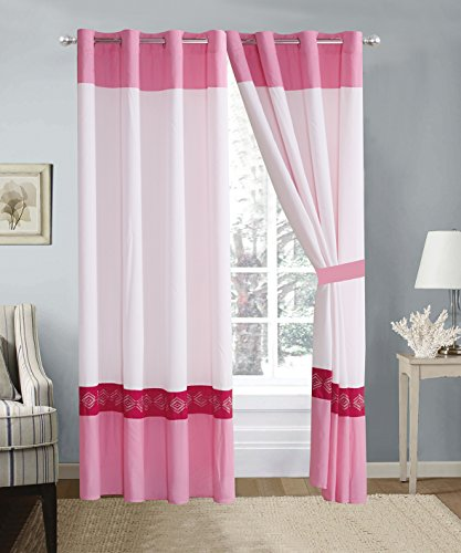 4 Piece Hot Pink / Pink / White Double-Needle Stitch Pinch Pleat Grommet Window Curtain set 108 x 84-inch, 2 Panels and 2 Ties