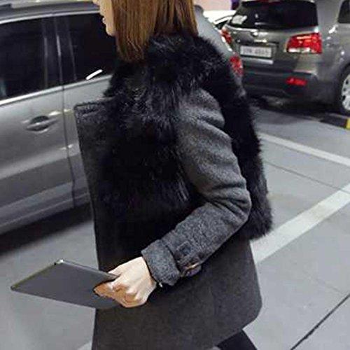 Cinnamou Vino Gris Negro Rojo Negro Mujer Piel Chaleco de Chaleco con sintética Mujer Blanco de Bolsillos Corto rpwZxPrq