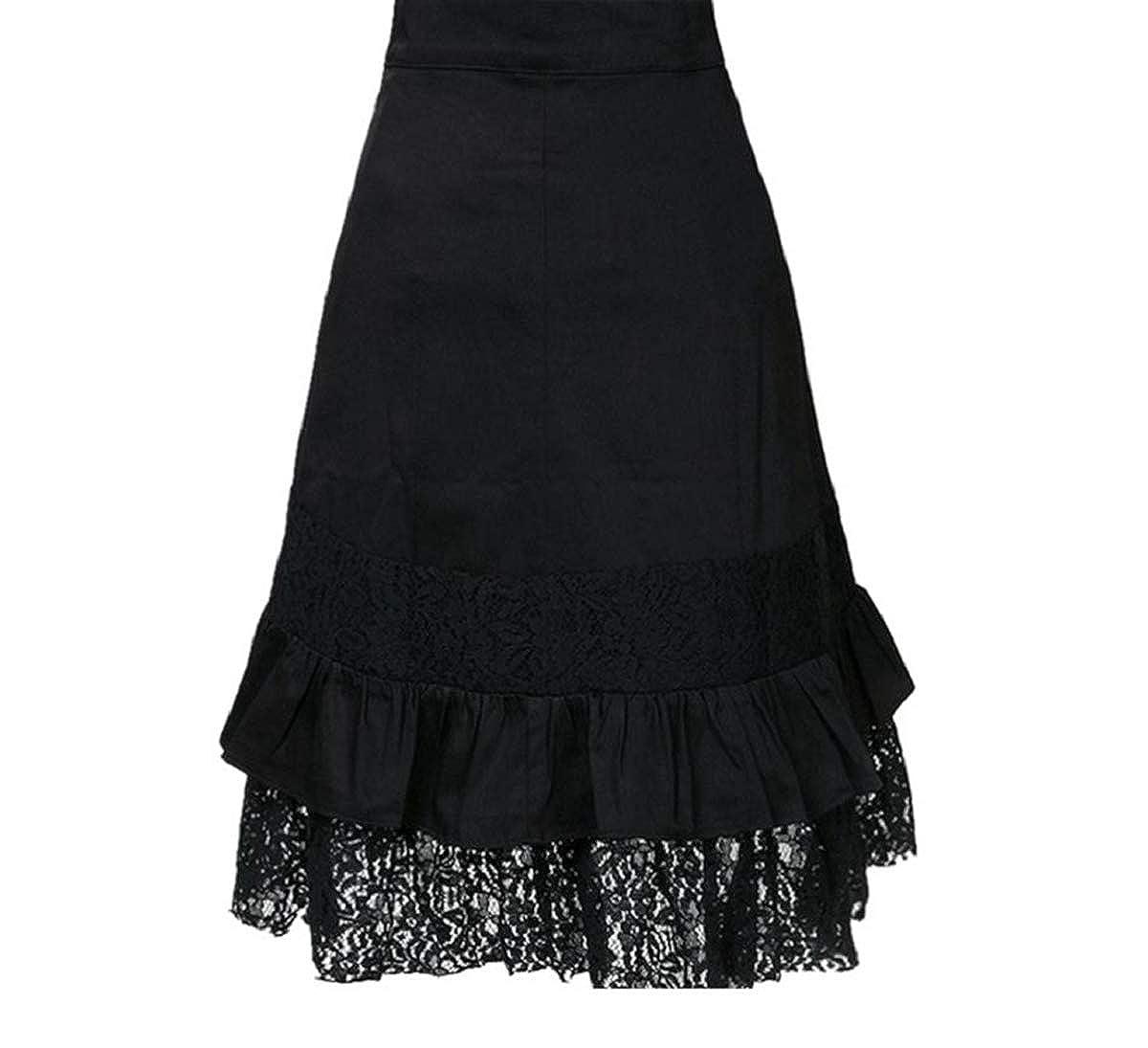 Long Jupe Femmes Dentelle Épissure Gothique Skirt Fashion Côté Feuille de  Lotus Jupes de Party Cocktail ... 88a063aa8b5