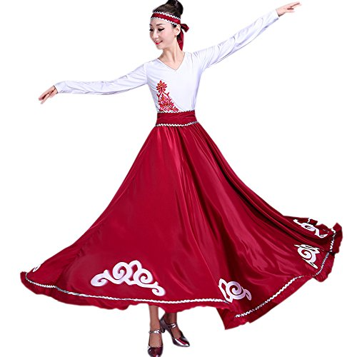 Backgarden Jupe de danse du ventre indienne Gypsy Tribal Party Performance longue robe Rouge Fonc
