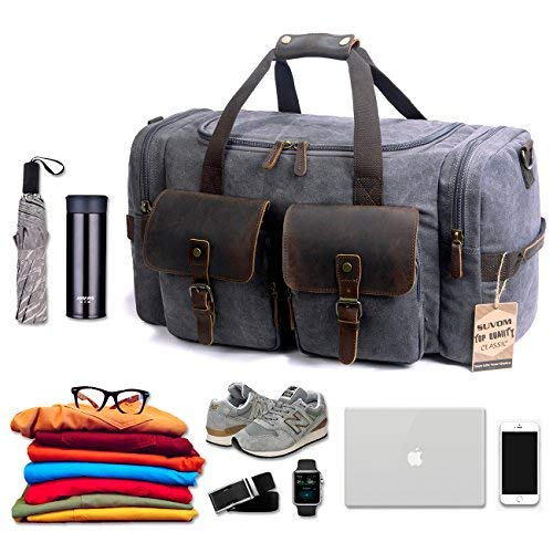 SUVOM Canvas Duffle Bag Leather Weekend Bag Carry On Travel Bag Luggage Oversized Holdalls for Men and Women
