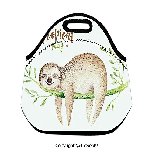 Portable lunch bag,Young Animal Sleeping on Palm Branch Happy Dreams Wildlife Nature Watercolor Decorative,for Women Men Kids Boys Girls(11.81x6.29x11.02 inch) Light Brown Green]()