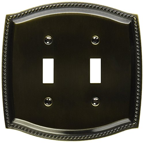 Baldwin 4790.CD Rope Design Double Toggle Solid Brass Switch plate, Satin Brass and Black -