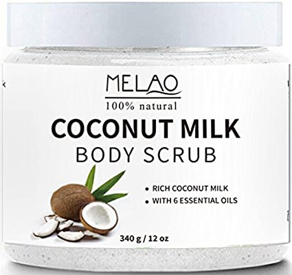 Exfoliante corporal aceite de coco,Leche de Coco Scrub Exfoliante Corporal y Facial Scrub para