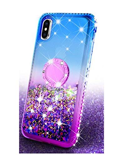 Free Cleaner + Compatible for iPhone XR Ring Liquid Glitter Kickstand Shock Proof Phone Case Waterfall Quicksand Bling Cute Protective Girls Women Cover (5, iPhone - Cleaner Case Liquid