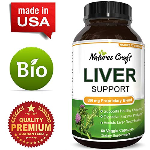 Natures Craft Natural Liver Support Supplement Detox and Cleanse with Milk Thistle Extract Pure Silymarin Marianum and Dandelion Artichoke Yarrow Complex Non GMO and USA Made 60 Capsules
