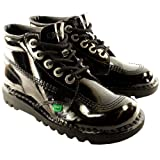 Kickers Unisex Kids Youth Kick Hi Black Patent Back To School Boots Shoes - Black - 5.5