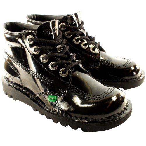 Womens Kickers Kick Hi Patent Classic Oxfords Office Work Boots Shoes - Black - 8.5 - Kickers Womens Kick