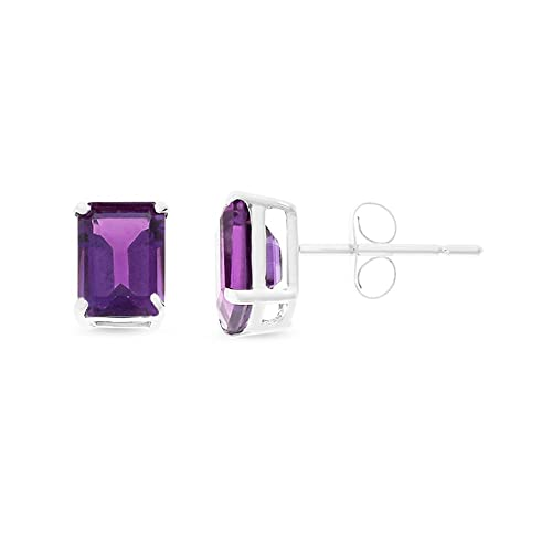 1.81CTW 14K White Gold Genuine Natural Amethyst Emerald Cut 5 x 7 mm. Solitaire Stud Earrings