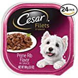 CESAR GOURMET FILETS Wet Dog Food Prime Rib Flavor, (Pack of 24) 3.5 oz. Trays