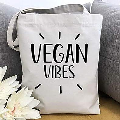 Amazon.com: Bolso de lona Vegan, bolso de la compra, bolso ...