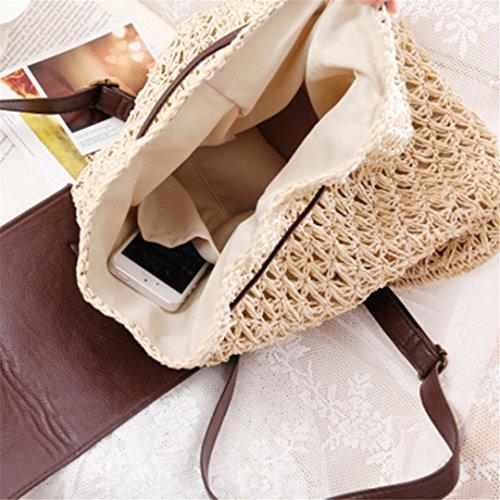 De Mujer Back para Travel Summer para SeñOra Verano Mochila Large Beige Weave Mochila Mochila De Femenina Blue Manualbages Bag Paja BSqAWA