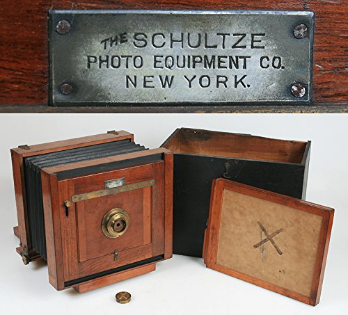 TAIL BOARD SCHULTZE 1890 6 1/2 X 8 1/2 W/FILM HOLDER,LENS CAP CASE, ULTRA RARE from SCHULTZE 1890
