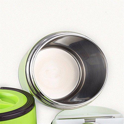 Conservazione calore scatola di pranzo gli studenti potenziometro di sollevamento di isolamento sottovuoto pentola bollire 2 piano 3 strato 304 acciaio inossidabile,1,2L,verde