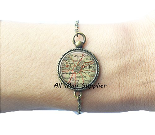 Charming Bracelet Dallas map Bracelets, Dallas map Bracelet, Dallas Bracelets, Dallas Bracelet, map - Arlington Highlands Stores