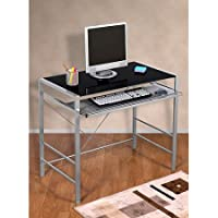 Mainstays Glass-Top Home Office Desk Table, with Black finish