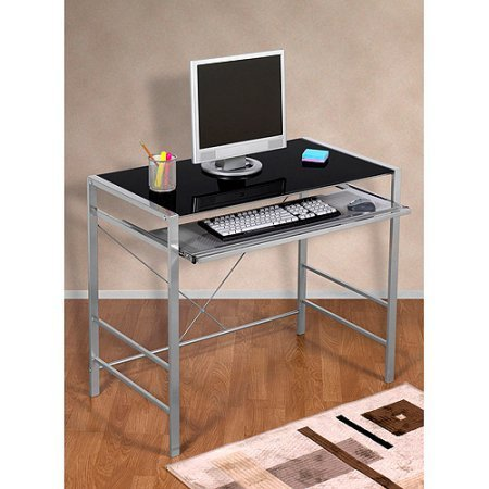 Mainstays Glass-Top Home Office Desk Table, with Black finis