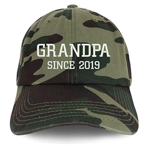 Trendy Apparel Shop Grandpa Since 2019 Embroidered Low Profile Deluxe Cotton Cap - - Cap Deluxe Cotton