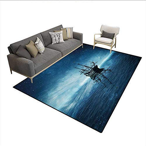 Floor Mat,Ship on Dark Blue Sea with Starry Night Sky Water Reflection,Rugs for Bedroom,Dark Blue Light Blue Black -