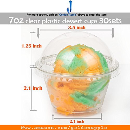 Golden Apple, 7 oz Clear Plastic Dessert Cups, Parfait Cups with Dome lids No Hole 30sets
