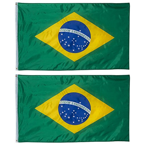 Juvale 2-Piece Brazil Flags - Outdoor 3x5 Feet Brazilian Flags, Brasil National Flag Banners, Double Stitched Polyester Flags with Brass Grommets, Decorations for Parties and Festivals, 3 x 5 Feet
