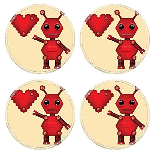 - Liili Round Coasters Non-Slip Natural Rubber Desk Pads Illustration of red valentine robot with heart Clip art Illustration 27943981