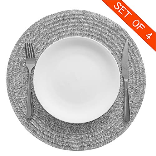 Familamb Round Placemats Set of 4 Vinyl Heat Resistant Placemats for Dining Table Washable Stain Resistant Kitchen Table Mats Light Grey