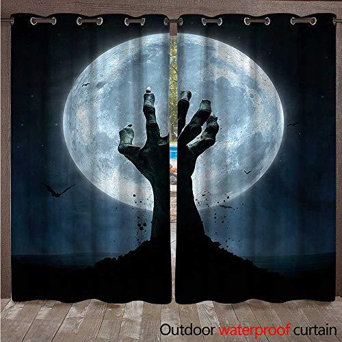 (cobeDecor Halloween 0utdoor Curtains for Patio Waterproof Zombie Grave W96 x L84(245cm x)