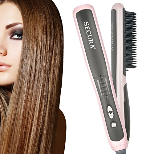 Secura Hair Straightener Comb with PTC Ceramic Heating Elements and 6 Levels of Temperature Control – Model:SC-6L
