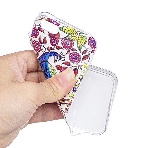 Custodia per iPhone 5S / 5 / SE ,JIENI Cranio colorato TPU Pavone colorato ornato Flessibile Sottile Protettivo Morbido Silicone Custodia Skin Bumper Case per iPhone 5S / 5 / SE