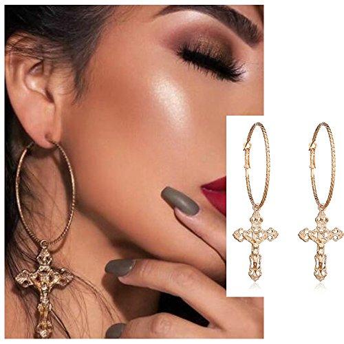 Vintage Cross (Silver Gold Cross Hoop Earrings - Color Cross Drop Earrings for Women Vintage Fashion Jewelry (Gold))