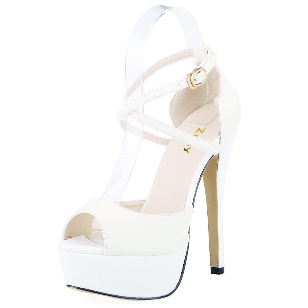ZriEy Women Sandals 14CM/5.5 inches High-Heeled Peep Toe Platform Party Sandals for Wedding Working Shoes Double Color B00TCNOTF8 7.5 B(M) US / 38 M EU|White