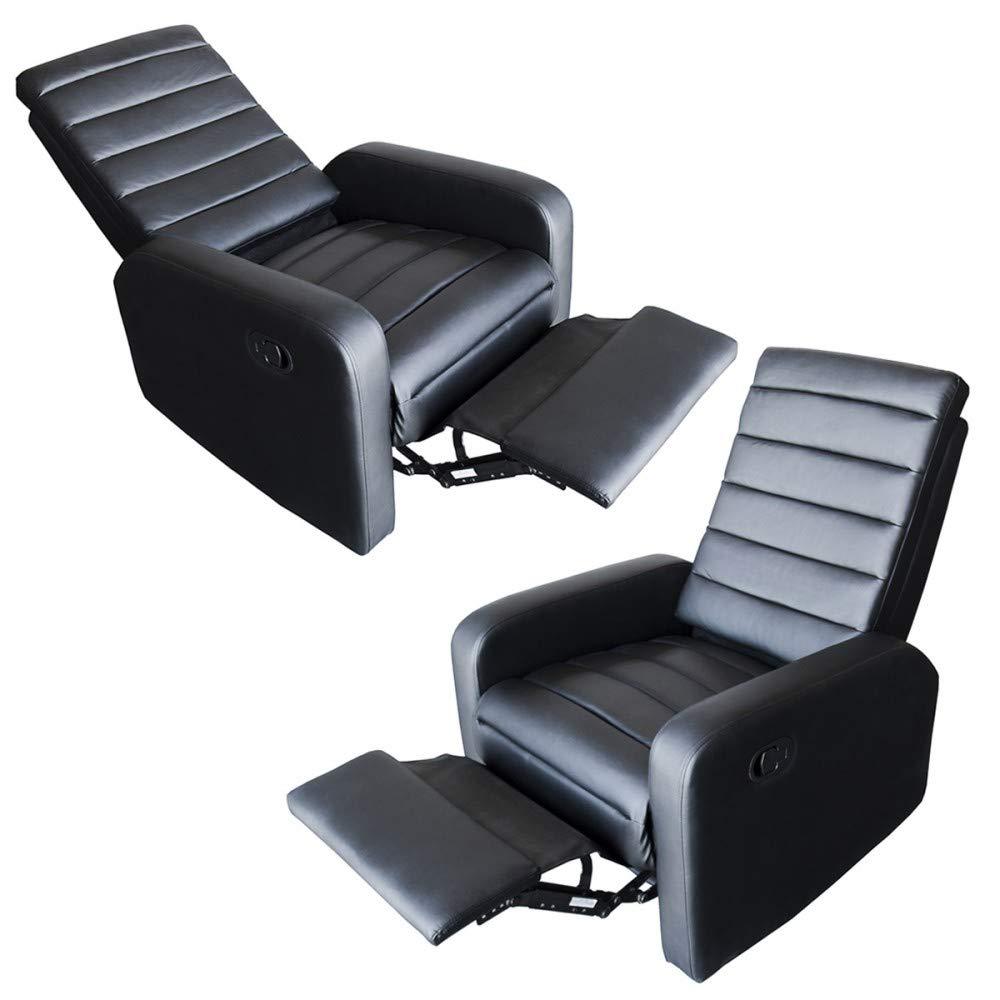 MonMobilierDesign Fauteuil de Relaxation inclinable Manuel avec Repose Pieds Blanc