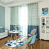 Blue Window Curtains for Baby Bedroom,Cartoon Linen Fish Drapes Panel for Children Room,Blackout Insulated Thermal Curtains Kid Boy Room Darkening Set Grommet 2 PCS,52 x 63 inch
