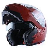 1Storm Motorcycle Street Bike Modular/Flip up Dual Visor/Sun Shield Full Face Helmet (GlossyBrown, X-Small)