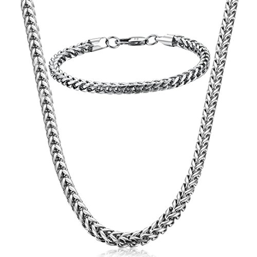 FIBO STEEL Stainless Steel Wheat Chain Necklace for Men Women Necklace Bracelet Jewelry Set 5mm in Width, 22 8.5