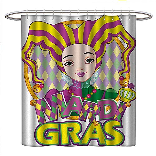 Anniutwo Mardi Gras Shower Curtains Digital Printing Carnival Girl in Harlequin Costume and Hat Cartoon Fat Tuesday Theme Bathroom Accessories W48 x L84 Yellow Purple Green for $<!--$35.38-->