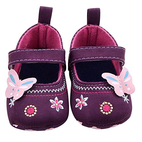 Coper Fashion Infant Baby Girl Soft Sole Toddler Shoes with Butterfly (Purple, 0~6 Month)
