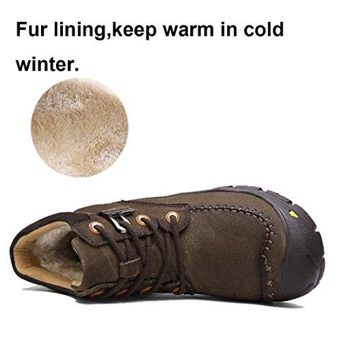 Dekesen Heren Bont Gevoerde Warme Winter Wandelschoenen Chukka Winterlaarzen Dk Bruin