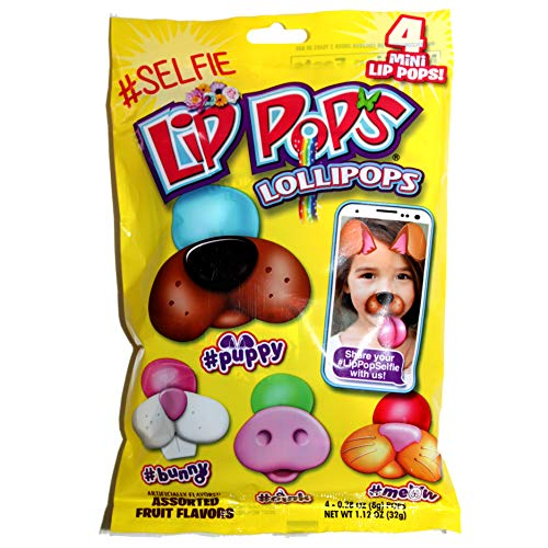 Flix Candy (1) 4pc Bag #Selfie Lip Pops Mini Lollipops - Dog, Rabbit, Pig & Cat Shapes 1.12 oz