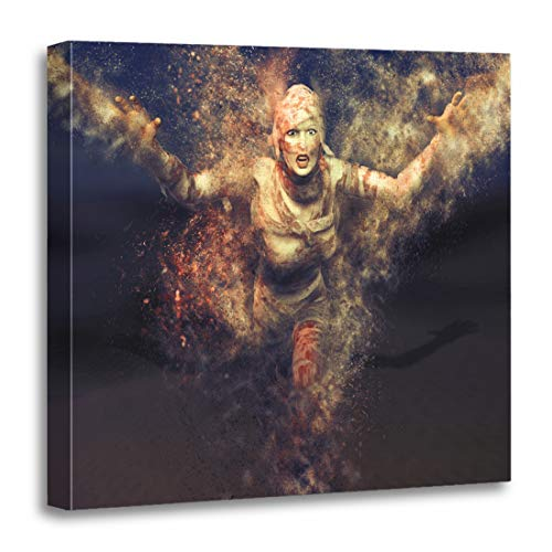 Semtomn Canvas Wall Art Print Egypt 3D Render of Female Mummy Attacking Towards The Artwork for Home Decor 20 x 20 Inches]()