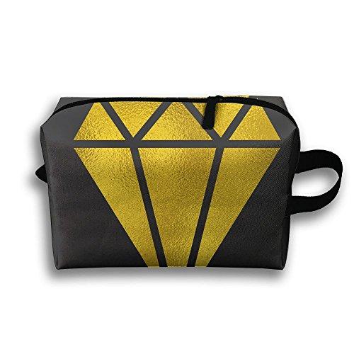Lqzdqa Unisex Tourist Bag Yellow Diamond Toiletry Bag Sundry Bag