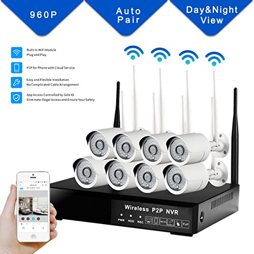 DOHAOOE All-in-One Hi3535 8CH NVR 1.3MP 500M WiFi Range Waterproof IPC WiFi Kit 960P Wireless Input Outdoor Network Home Surveillance Security Camera System by DOHAOOE